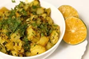 Home-Made Quick  And Easy Aloo Subzi (Dry Potato Curry) By Archana